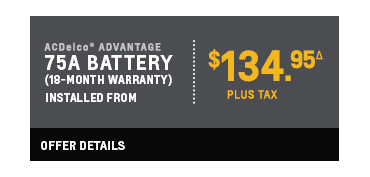 75a battery installed from $134.95